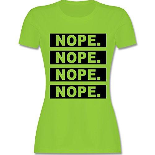 Statement Shirts - Nope. - tailliertes Premium T-Shirt mit Rundhalsausschnitt für Damen Hellgrün