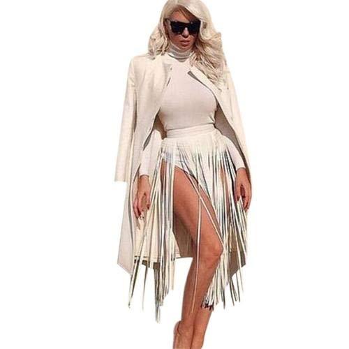 Weißen Rock Anzug (iShine Damen Gürtel mit Lange Quaste PU Kunstleder Anhänger Stil Hip-Hop Punk Gurt für Rock Kleid Shorts Verstellbare Größe mit Gürtelschnalle Sexy Cool Gürtel für Frauen Mädchen Weiß)