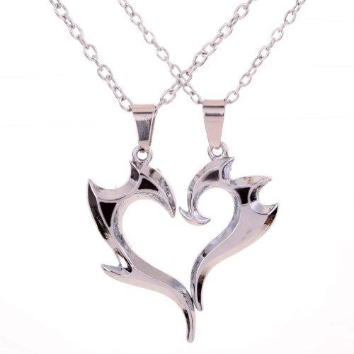 YAZILIND 2pcs para mujer para hombre del rompecabezas del acero inoxidable de amor collar colgante de unos 17 regalos