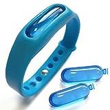 Nouveau MODÈLE Rayon de Protection Plus Large - Bracelet Anti-Moustiques Anti-Insectes de Silicone Douce avec 2 Recharges - sans Deet sans Spray, Complètement Naturel (Blue)