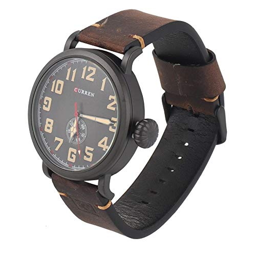 KNOSSOS 8283 Casual Man Quartz Watch Waterproof Leather Strap Wristwatch