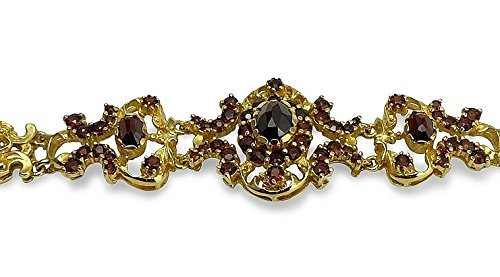 Damen Trachtenarmband 835 Silber vergoldet mit Granat rot 18 cm S01-A0007