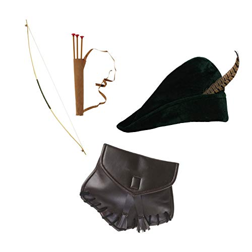 Kostüm Bogen - WIDMANN Robin Hood Set - Hut, Bogen & Tasche