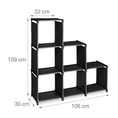 2 x Stufenregal im Set, je 6 Fächer, stabiles Treppenregal, Regalsystem, Raumteiler, schwarz