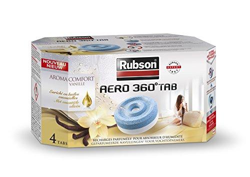 Rubson 2093428 Lot de 4 Recharges parfumée aroma comfort vanille pour absorbeur d'humidité Aero 360°