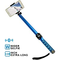 Extra Long Bluetooth Selfie Stick, Extendable 3M Monopod Phone Holder Built-in Remote Control Wireless Shutter for Photographing, Traveling Compatible with Iphone, Huawei, Samsung, HTC, Blue (3M)