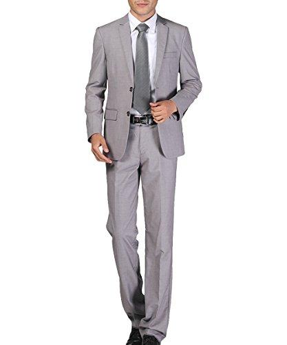 Herren Business Anzug 2-Knopf-Anzugjacke mit Anzughose Grau