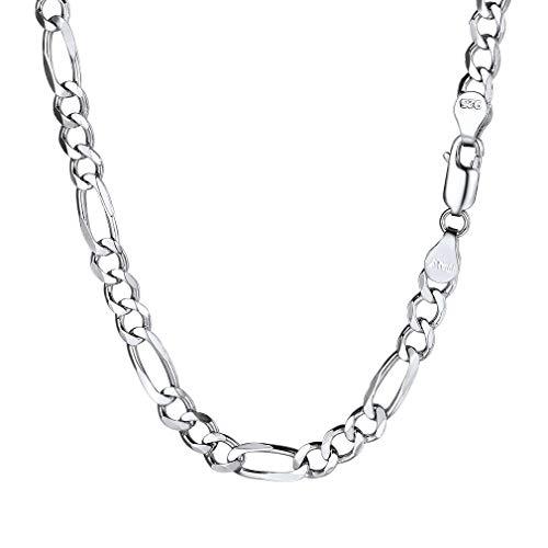 PROSILVER Italien Figarokette 5mm breit Herren Halskette 925 Sterlingsilber 1+3 Gliederkette 55cm/22