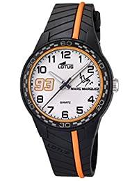 Lotus Marc Márquez 2014Junior Edition Reloj infantil de cuarzo con Esfera Pantalla Analógica y correa negra de goma blanca 18106/4