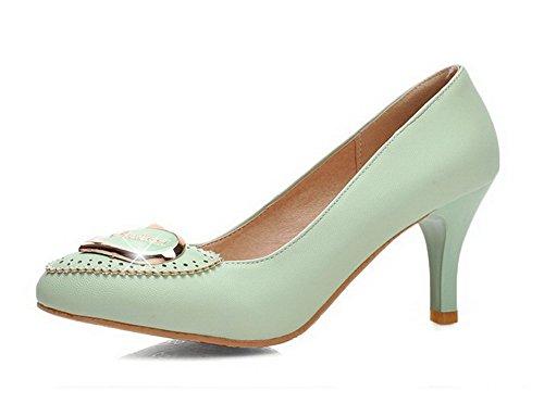 VogueZone009 Femme Pu Cuir à Talon Correct Pointu Mosaïque Tire Chaussures Légeres Vert