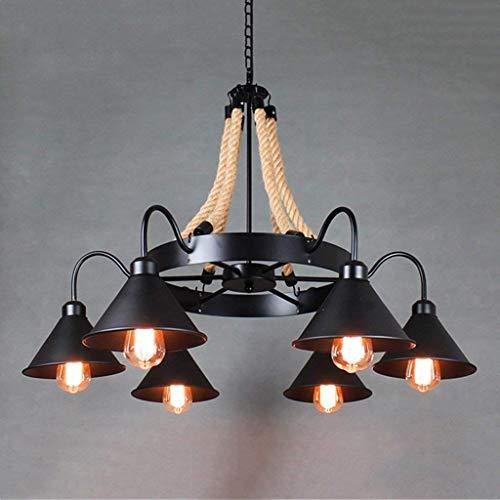 BOC The Industrial Chandelier Style Beleuchtung Lgoodl Nostalgie Loft Hanfseil Kronleuchter Lichter Schmiedeeisen 6/8 der Inflorescences Innenbeleuchtung (Edition: 8 Sprinkler),6 Köpfe -