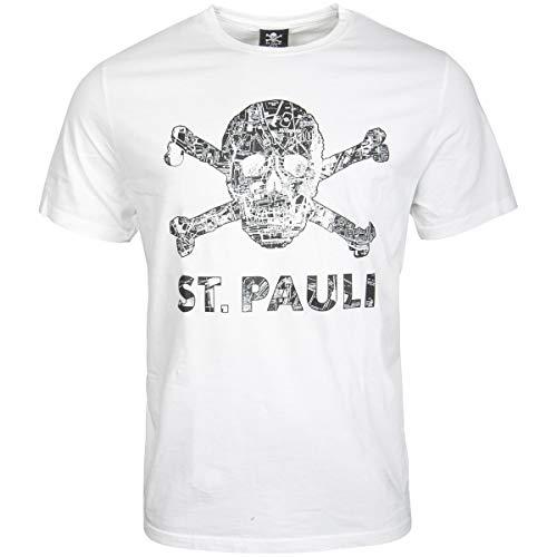 FC St. Pauli Herren T-Shirt Shirt Totenkopf Stadtplan Millerntor Hamburg Weiß Schwarz (M)