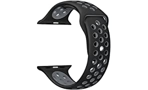 TANTRA 42mm Soft Silicone Replacement Sport Strap iWatch Band for Apple Watch 42mm Edition & Sport & Apple Watch. (Black+Grey)