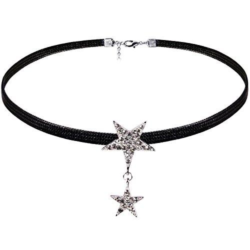JewelryWe Schmuck Damen Choker Kette Kropfband schwarz mit Strass Stern Anhänger Silber, 90er Vintage Stil Joker Halskette Boho Schmuck für junge Frau und Mädel