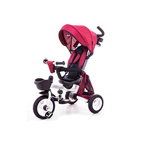 BLWX - Vélo à Trois Roues pour Enfants Pliant bébé 1-3-5 Ans, Poussette automotrice, Chariot léger Poussette (Couleur : Red)