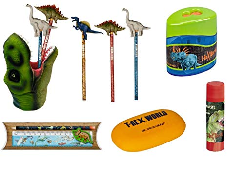 T-Rex World Die Spiegelburg 6-teiliges Schulschreib-Set 14502 14270 12242 11141 14570 20921 Stifteköcher + Bleistift mit Topper + Doppelanspitzer + Linealset + Radierer + Klebestift