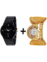 JOHN RICHARD COMBO OF BLACK QUARTZ ANALOG WATCH FOR MAN WITH GOLDEN BRACELET ...