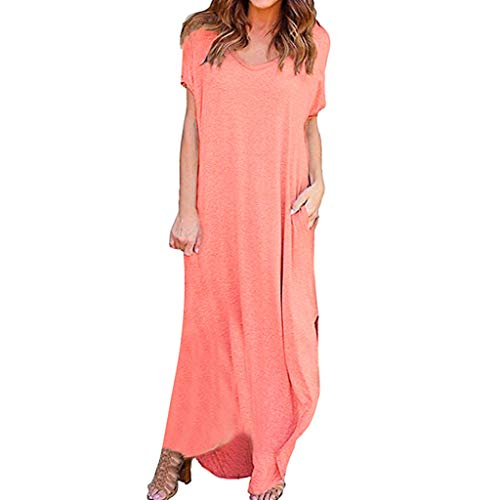 Nyuiuo Sommer Damen einfarbig lose langes Kleid Damen einfarbig V-Ausschnitt Kurzarm Tasche langes Partykleid Mode Damen lässig einfarbig lose Abendkleid Party Cocktailkleid -