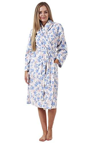 Damen Bademantel für den Winter - mit Blumenmuster - warm & gemütlich Blaues Blumenmuster