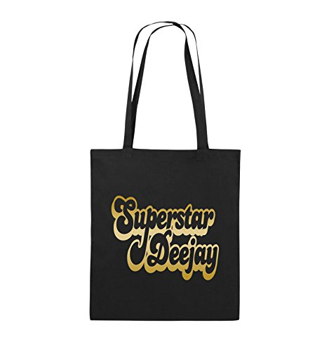 Comedy Bags - Superstar Deejay - Jutebeutel - lange Henkel - 38x42cm - Farbe: Schwarz / Silber Schwarz / Gold