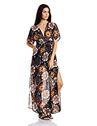 Forever 21 Womens A-Line Dress (00220735022_0022073502_ BLACK/RUST_2/S)