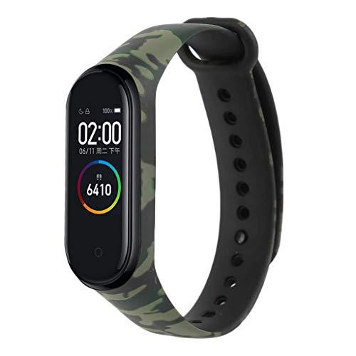 SHSH - Correa de repuesto para reloj Xiaomi Mi Band 4 (estampado de camuflaje), negro