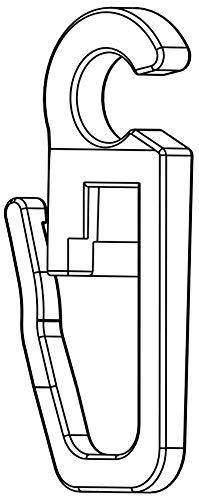 Stylelex 100x Hochwertige Überklipshaken, Faltenlegehaken, Gardinenhaken mit 6 mm Öse - Farbe: Transparent - Qualität Made in Germany - Für Rundringe