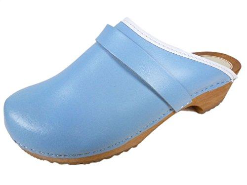 Buxa Zoccoli semplice Unisex in Legno / Pelle Luce Blu
