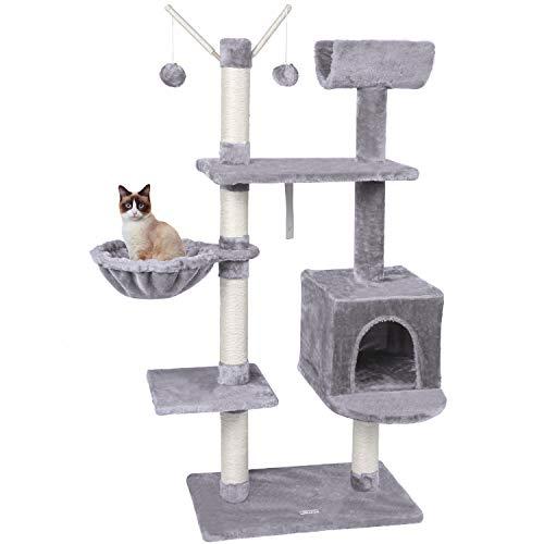 MC Star Árbol para Gatos Rascador 131cm Plataformas Adultos Centro de Actividades para Gatos con Cueva Hamaca Pelota Artículo Anti-vuelco, Gris Claro