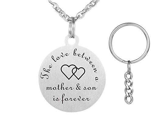 lisierte Mutter und Sohn Edelstahl Sentimental Name Customized Engravable Runde Tag Keychain Anhänger Halskette für Mama vom Sohn für Muttertag Geschenk ()
