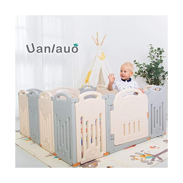Foldable Baby Playpen Kids Activity Centre Safety Play Yard Home Indoor Outdoor Grey Uanlauo 🥉FOLDABLE & PORTABLE: Easy to storage and can be fold outdoor/indoor; Sturdy holding Rubber anti-slip pad so the yard won't go sliding around. 🥉MOM'S LIFESAVER: Keep baby safe in the baby gate there play centre when mom/dad needs to cook, clean up, do some housework, etc. 🥉Safty&Durable:BPA free Give your baby the closest contact, HDPE Material is more durable. 2