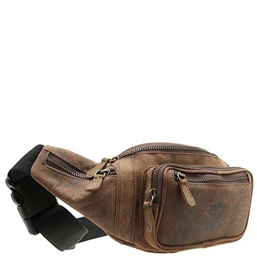 Gürtel-Tasche Echt Leder Hüfttasche Reise-Bauch-Handy-Tasche Herren Bag (Braun) (Leder Gürtel-tasche)