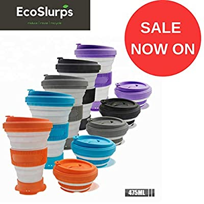 EcoSlurps Reusable Collapsible Coffee Cup - 5 Sizes in 1 Folding Travel Mug Makes for Great Coffee Gift Eco Friendly, Lightweight, Dishwasher Safe & Leak Proof Design from EcoSlurps