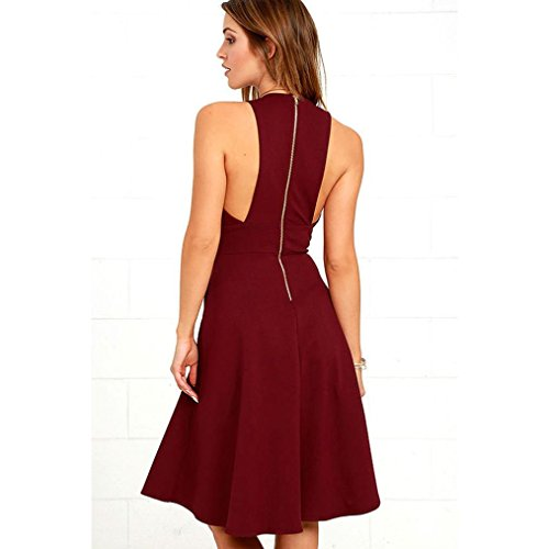 Femme Robes V-Neck, Tonwalk Femme Robes Vintage Rouge