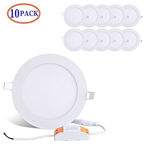 12W 6-inch Ultra-thin Round LED Recessed Ceiling Panel Down Light Lamp with Driver, 1,000 Lumens, 80W Incandescent Equivalent, 6000K (Cool White), Home, Office, Commercial Lighting Pack of 10