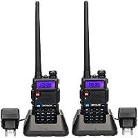Retevis RT5R Walkie Talkie 5W 128Canales UHF 400-520MHz VHF 136-174MHz DTMF VOX Banda Dual Doble Frecuencia FM Radio con Original Auricular, Batería, Antena, Cargador, y Más (1 par)