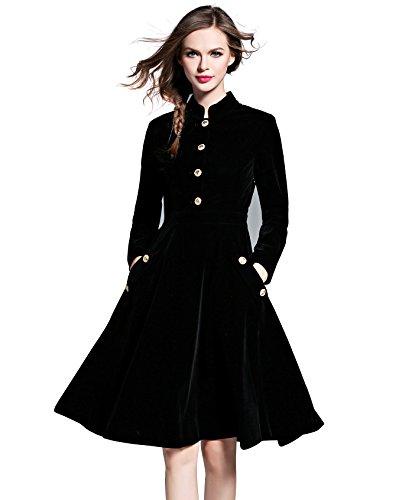 LAI MENG Swing Damen Elegant Skaterkleid A-Linie Kleid Lange Ärmel Corduroy Winter/Frühlingkleid Partykleid Knielang- Gr. 40 (XL), Schwarz