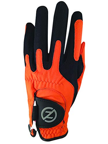 Zero Friction Null Reibung Herren Compression-fit synthetischen Golf Handschuh, Universal Fit One Size, Herren, Orange