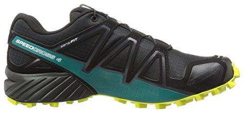 Salomon Speedcross 4, Chaussures de Trail Homme, Bleu Noir (Black/everglade/sulphur Spring)