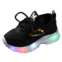 Toddler Baby Girls Boys LED Light Up Luminous Snow Boot Winter Warm Sneakers Casual Shoes for 1-6 Years Old,Children Breathable Mesh Led Luminous Sport Run Sneakers Shoes by YONSIN Black