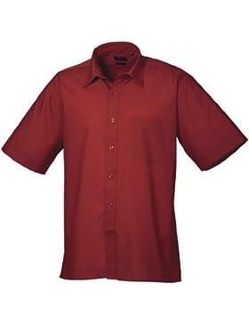 Premier - Camicia Manica Corta da Lavoro - Uomo (Girocollo 41cm) (Bordeaux)