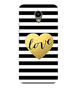 For Meizu M3 :: Meizu M 3 love ( love, yellow heart, stripe, good quotes ) Printed Designer Back Case Cover By CHAPLOOS