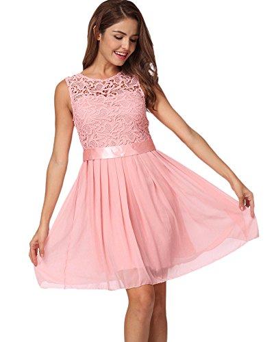 Romacci Damen Chiffon Spitze Kleid Sleeveless O Ansatz Normallack elegante Prinzessin Party Kleid