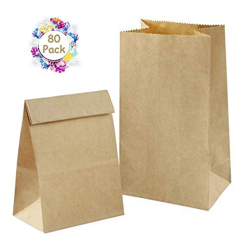 80 Braune Bio Papiertüten, Vegena Papier-Beutel Geschenktüten Kraftpapier Kraftpapiertüten Tüten Adventskalendertüten 70 gr./m2 Tütchen für Geschenktüten Ostertüten verpacken Keks Süßigkeiten Nüsse
