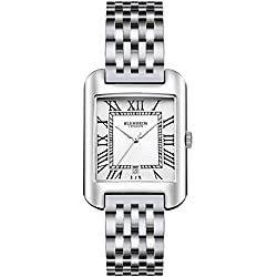 Blenheim London® B3180 Curve Watch White Roman Numeral with Sliver Hands with Stainless Steel Strap