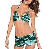 NPRADLA 2019 Bikini Badeanzuge Damen Bademode Beachwear Gedruckt 2 Stück Bikini Badeanzug Badeanzug(Grün,S/34)