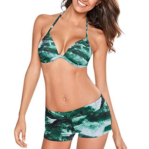 Ihengh costume da bagno,bikini donna sexy costume da bagno sexy da donna con balze costumi da bagno push-up imbottiti tankini moda estate natale san valentino regalo festa nero(verde,large)