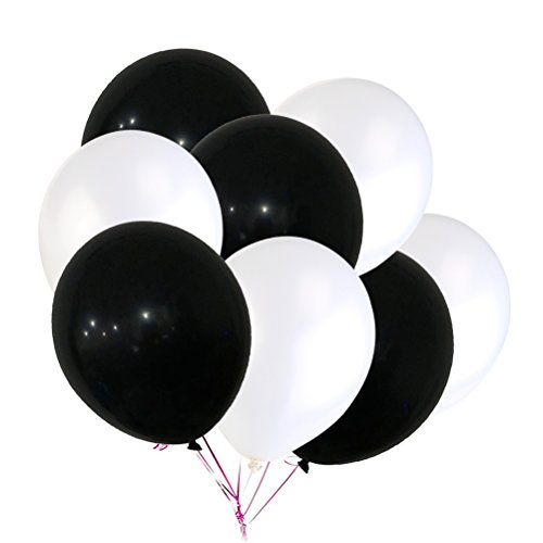 TOYMYTOY Schwarz Weißen Luftballons Groß 30cm 100 Stück - Geburtstags Party Dekoration, Helium Luftballons, Runde Latex ballons