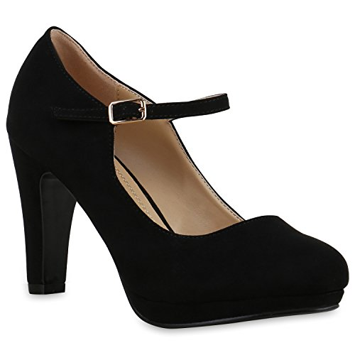 Damen Pumps T-Strap Blockabsatz High Heels Damen Mary Janes Samt Velours Spangenpumps Lack Leder-Optik Schuhe 129495 Schwarz 38 Flandell