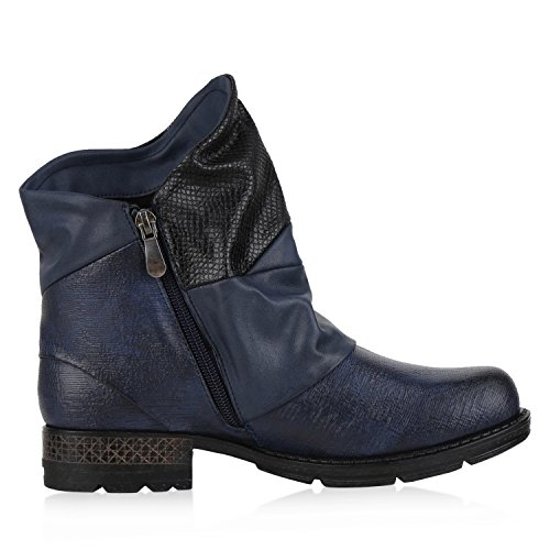 napoli-fashion Damen Biker Boots Stiefeletten Prints Profil Sohle Block Absatz Dunkelblau